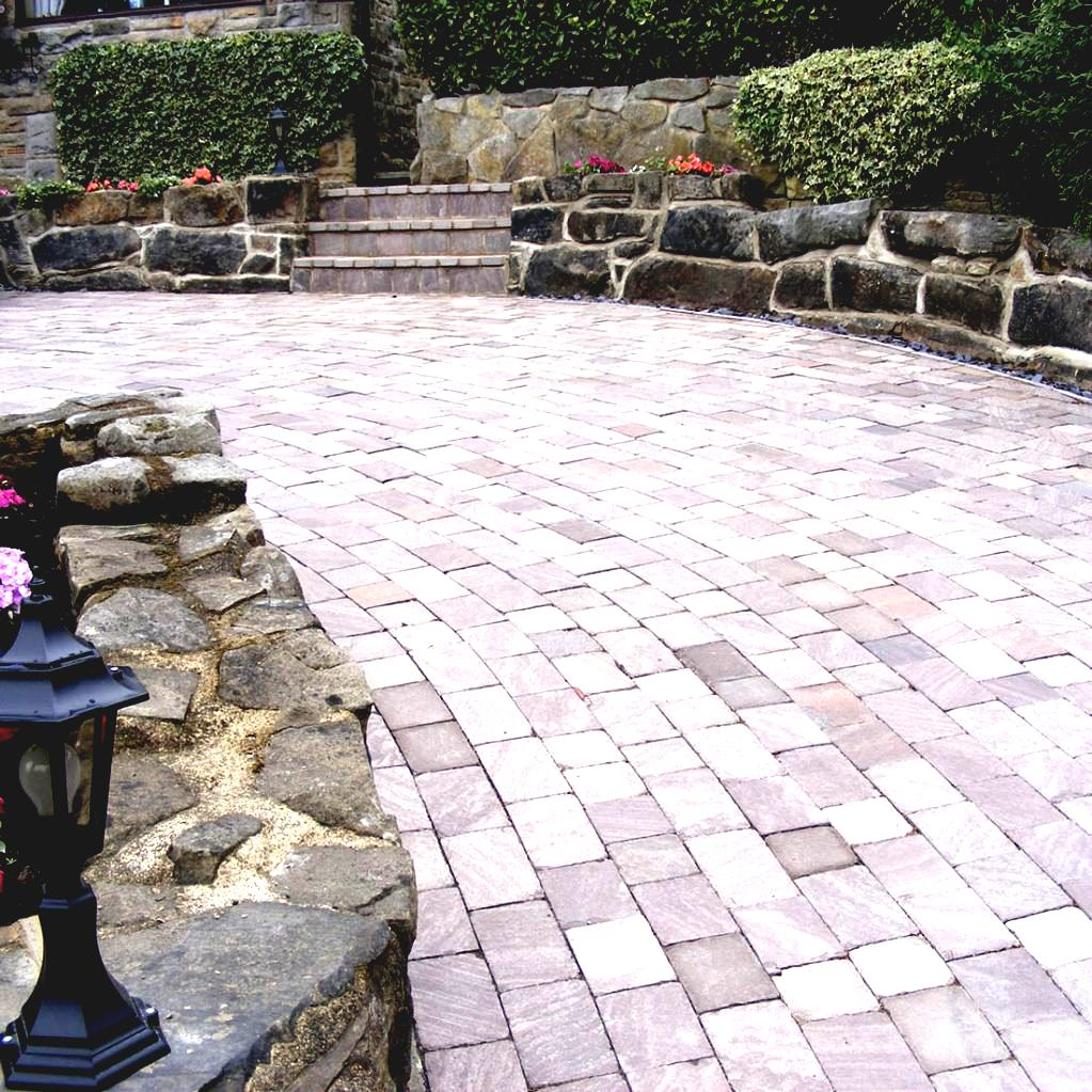 Also Patio Stone Design Garden Paving Designs Wonderful Brown Color Block Simple Exterior Natural Be Equipped Lamp Stairs At Backyard As Well Landscaping   ...